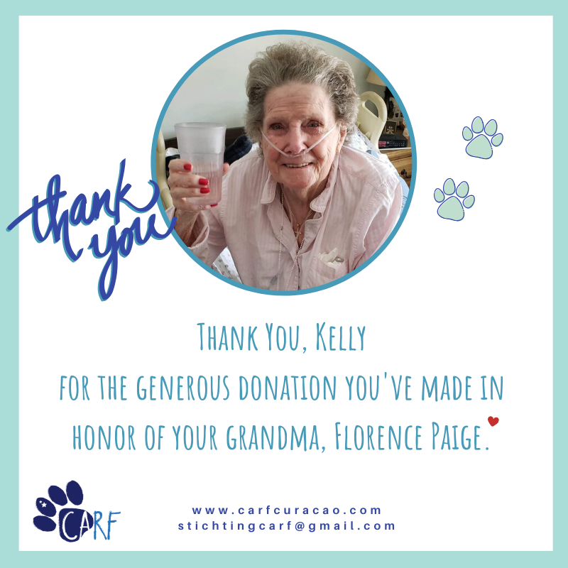 CARF Receives Generous Donation in Honor of Ms. Florence Paige